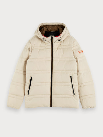 Quilted Puffer Jacket in Beige