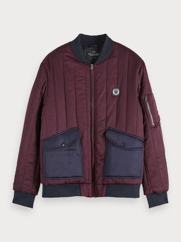Quilted Bomber Jacket in Red
