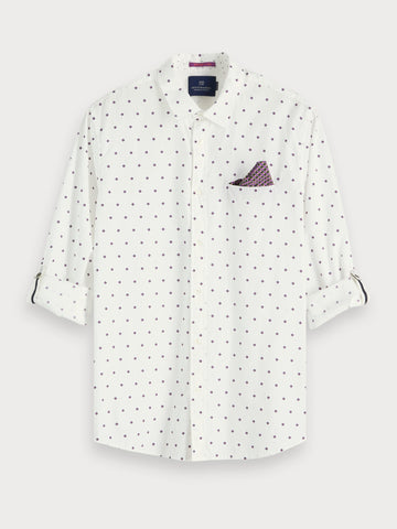 Printed Chest Pocket Shirt | Regular fit in White