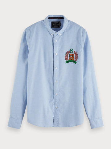 Embroidered Oxford Shirt | Regular fit in Blue