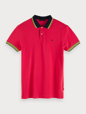 Contrast Polo in Pink