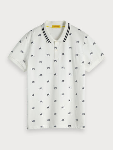 Printed Polo in White