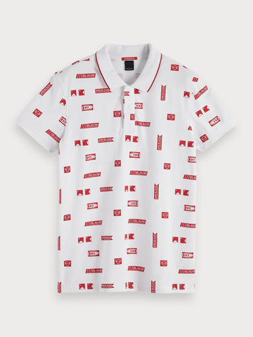 All-Over Printed Polo in White