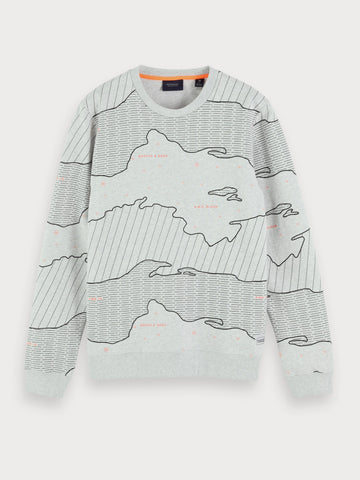 All-Over Printed Sweatshirt in Grey