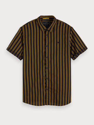 Striped Cotton Shirt | Regular fit in Black