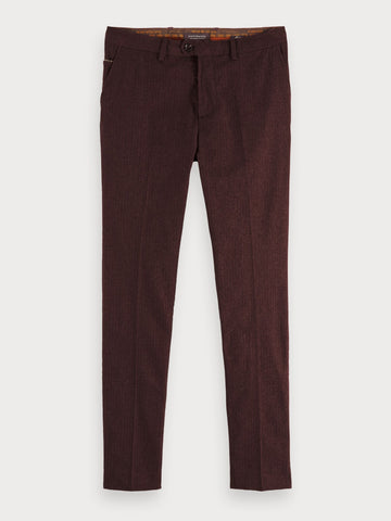 Mott - Yarn Dyed Trousers | Super slim fit in Red