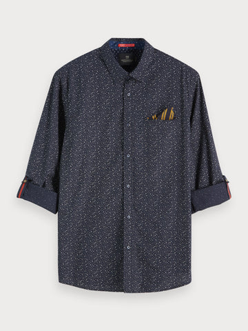 Printed Chest Pocket Shirt | Regular fit in Grey