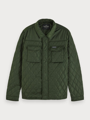 Quilted Shirt Jacket in Green