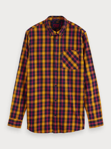 Brushed Checked Shirt in Blue