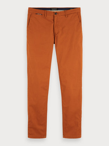 Mott - Pima Cotton Chinos | Super slim fit in Tobacco