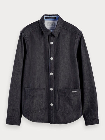 Reversible ombre cotton-blend overshirt in Indigo