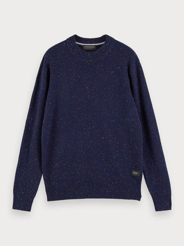 Classic wool-blend crewneck pullover in Navy Melange