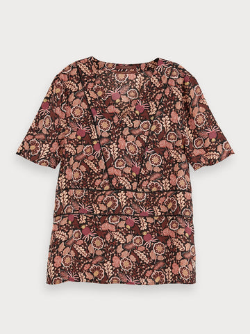 Floral print short sleeve top in Combo A