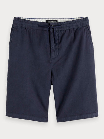 Cotton-Linen Shorts in Blue