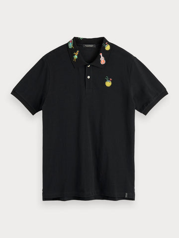 Embroidered Detail Polo in Blue