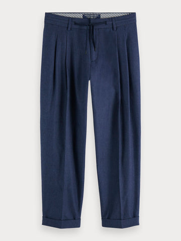 Pleated Chambray Trousers in Blue