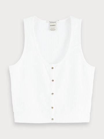 Cropped Tank Top in Antique White