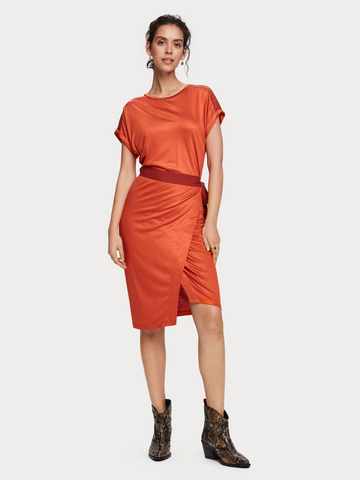 Viscose Wrap Dress in Ginger