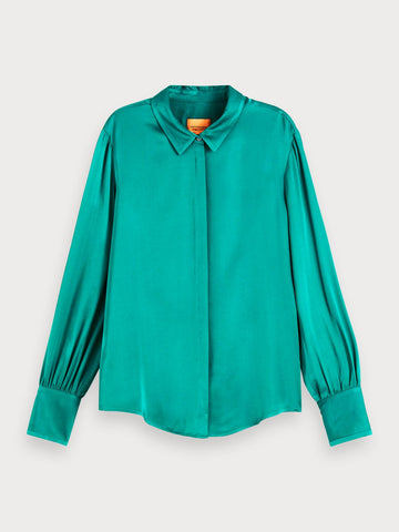 Viscose Satin Shirt in Ocean