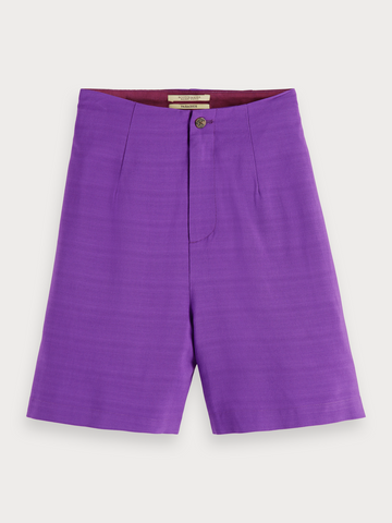High Waisted Viscose Shorts in Purple
