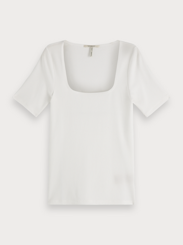 Square Neck T-Shirt in Off White