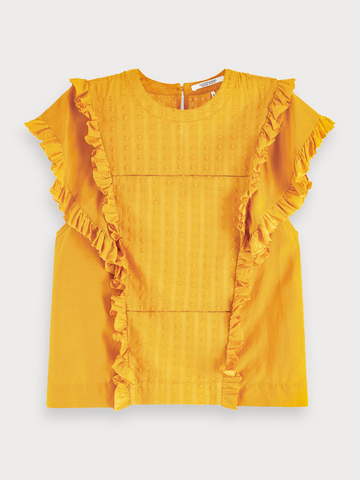 Ruffled Fil Coupe Top in Mustard