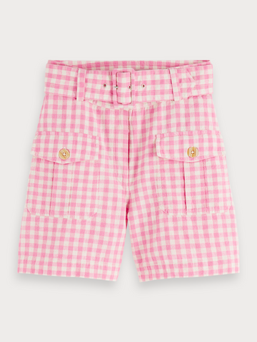 Checked Linen Blend Shorts in Combo O