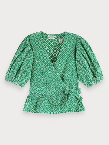 Broderie Anglaise Wrap Over Top in Tikki Green