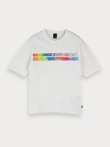 Tie Dye Artwork T-Shirt in White