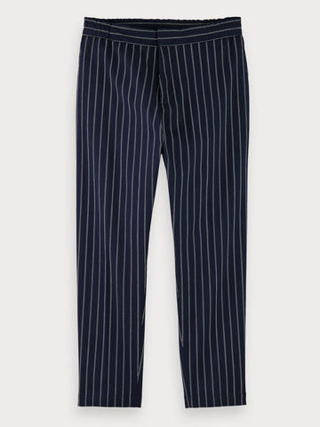 Mid-Rise Stretch Cotton Pinstripe Suit Pants In Blue