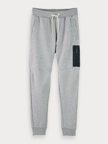 Cotton-Blend Patch Pocket Sweatpants In Grey