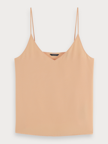 Cotton-blend V-neck spaghetti strap tank top in Apricot