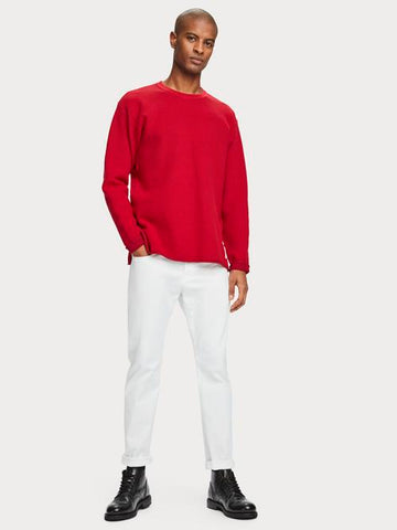 Oversized Long Sleeve Cotton-Blend Knit in Red