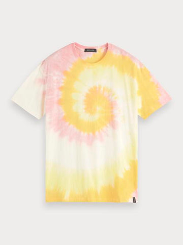 Crew Neck Tie Dye T-Shirt in Yellow