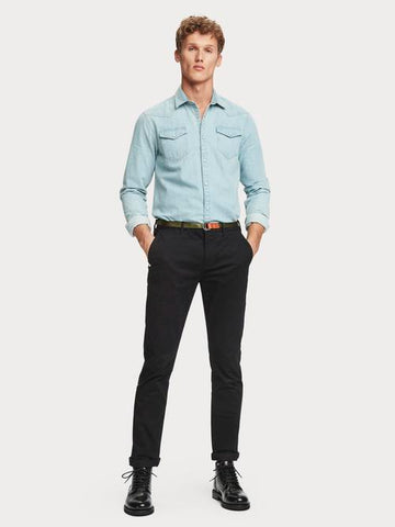 Stuart Stretch Chino Regular Slim-fit with Belt in Black