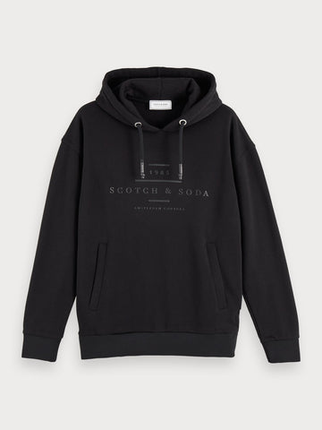 Cotton blend long sleeve branded hoodie in Black