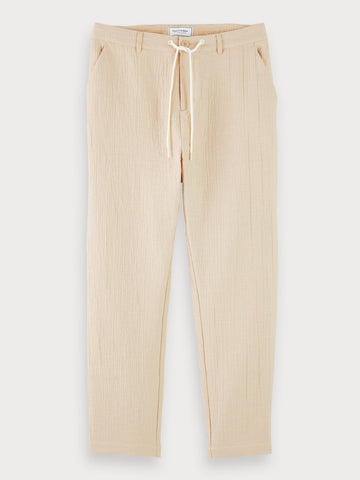 Mid-Rise Drawstring Travel Pants In Beige