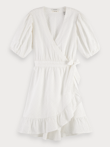 Broderie Anglaise Wrap Dress in White