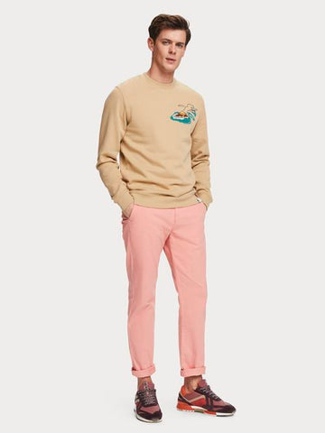 Stuart Stretch Chino Regular Slim-fit with Belt in Pink