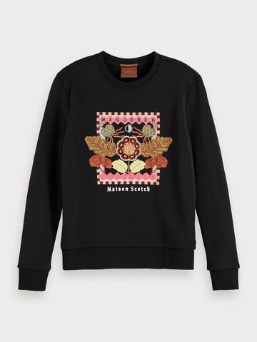 Embroidered cotton-blend sweatshirt in Black