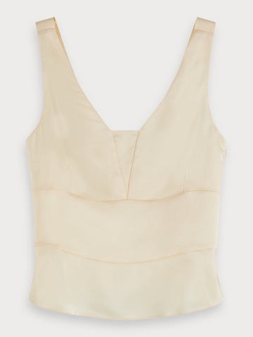 Shiny Fitted Tank Top in Antique White