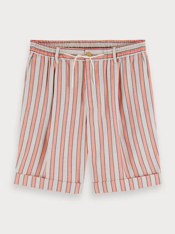 Striped Linen Blend Shorts in Pink