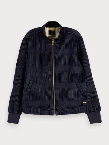 Pleated long sleeve bomber jacket in Midnight