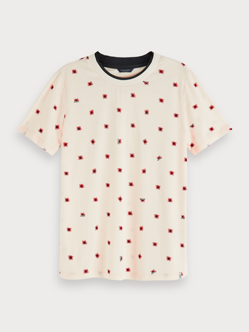 Cotton-blend seasonal print short sleeve t-shirt in Combo C