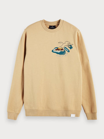 Sustainable Cotton Blend Printed Long Sleeve Sweatshirt In Beige