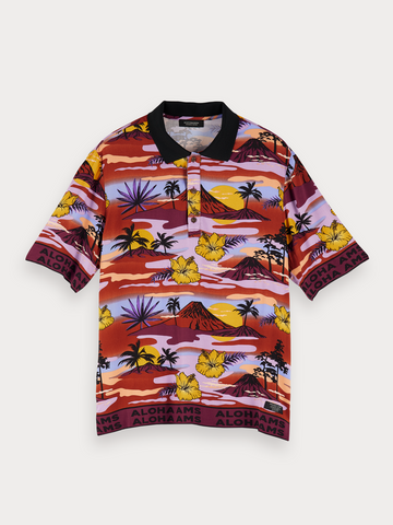 Cartoon Print Polo in Yellow