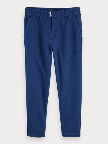 100% Cotton Denim Chino | Medium-Rise In Blue