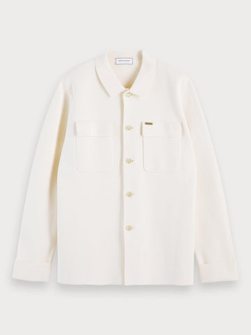 Cotton-blend knitted overshirt in Ecru