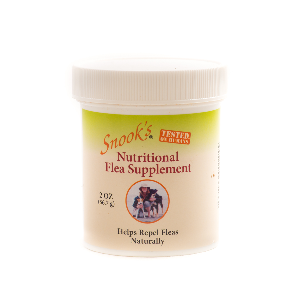 Snook's nutritional flea supplement helps repel fleas naturally, shown in 2oz  jar.