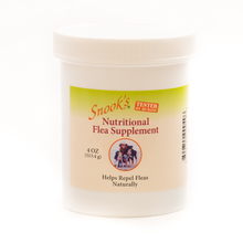 Load image into Gallery viewer, Snook's nutritional flea supplement helps repel fleas naturally, shown in 4oz jar.